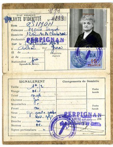 Carte d'identité de Marie-Louise Simon - Tante de Claude Simon