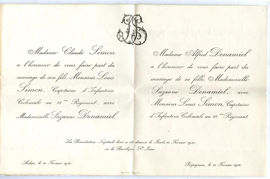 Faire-part de Mariage de Louis Simon et Suzanne Denamiel